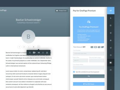 Onepage : Dashboard Design web stats sidebar shadow menu graph desktop dashboard