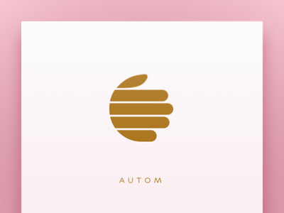 AUTOM pink typography gold automation robotics branding hand logo