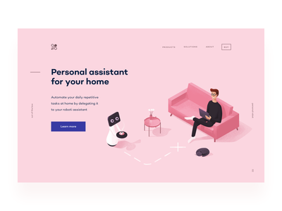 Personal Assistant web automation hero home room noise pink coffee robot landing page ipad illustration