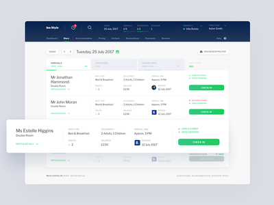 InnStyle - Diary view ui ux redesign dashboard travel bnb guest hotel booking