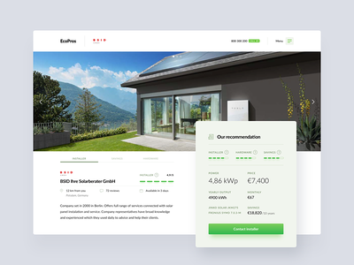 EcoPros - Offer page dashboard energy ux ui solar panels renewable green ev