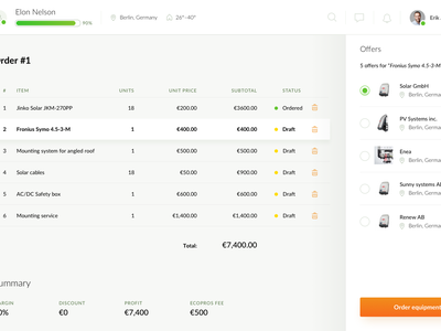 EcoPros - Installer dashboard dashboard energy ux ui solar panels renewable green ev