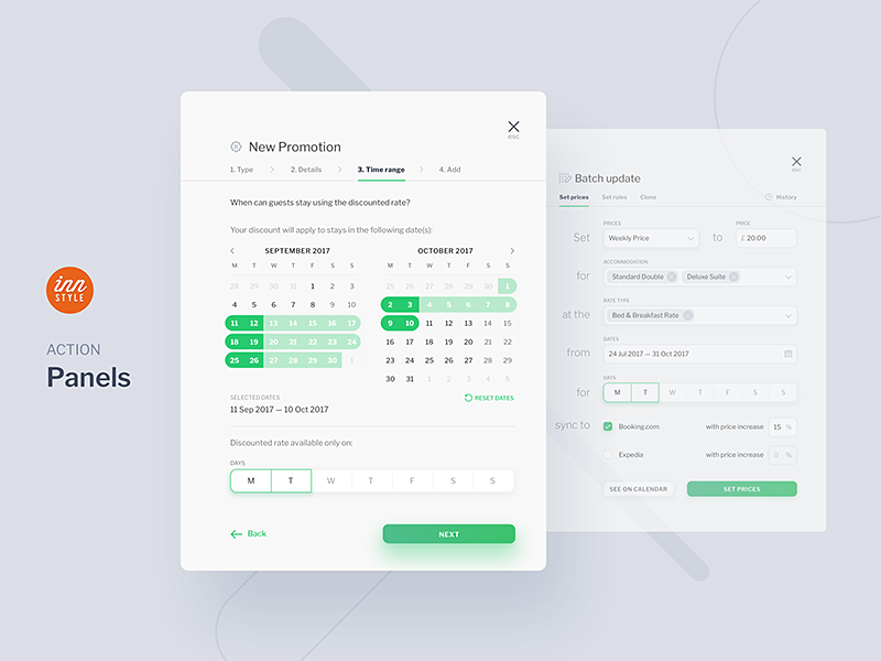 InnStyle - Action Panels booking hotel guest bnb travel dashboard redesign ux ui