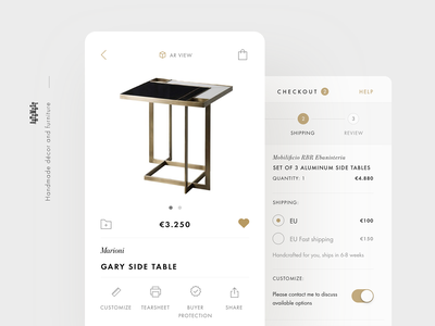 Artemest iOS app with Augmented Reality augmented reality minimalism ux ui ecommence furniture ar ios mobile