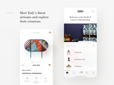 Artemest iOS app with Augmented Reality furniture store ios mobile minimalism augmented reality ux ui design typography ecommerce