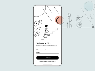 Clio - Menopause Relief. iOS app user onboarding. healthcare health app ui ux typography mobile mobile app vector minimalism