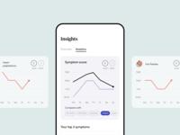 Clio - Menopause Relief. Analytics screen. comparison chart healthcare dataviz health app chart analytics minimalism vector mobile dashboard typography ux ui