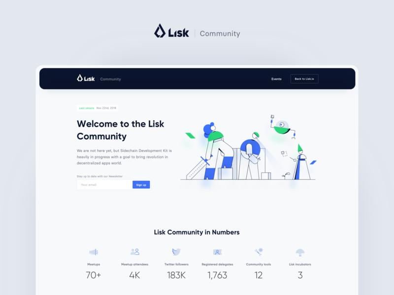 Lisk Community teamwork ui ux vector rwd minimalism landing page website illustration design system crypto blockchain