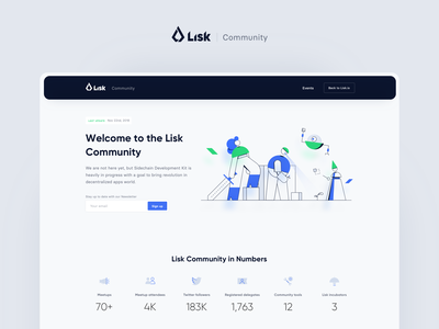 Lisk Community teamwork ui ux vector rwd minimalism landing page website illustration design system crypto blockchain