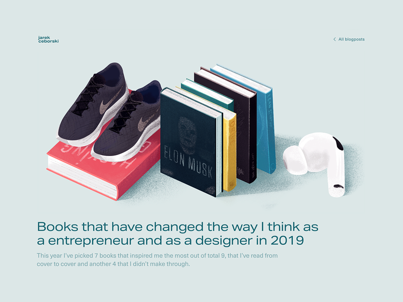 Most inspiring books of 2019 blog blog design mobile rwd ui ux vector inspiration airpods running books procreate illustration
