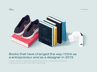 Most inspiring books of 2019 blog blog design mobile rwd ui ux vector inspiration airpods running books procreate illustration
