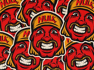 Hulk Hogan bandana mustache procreate badge sticker face portrait sports wwe hulk wrestler wrestling hulkmania hulk hogan