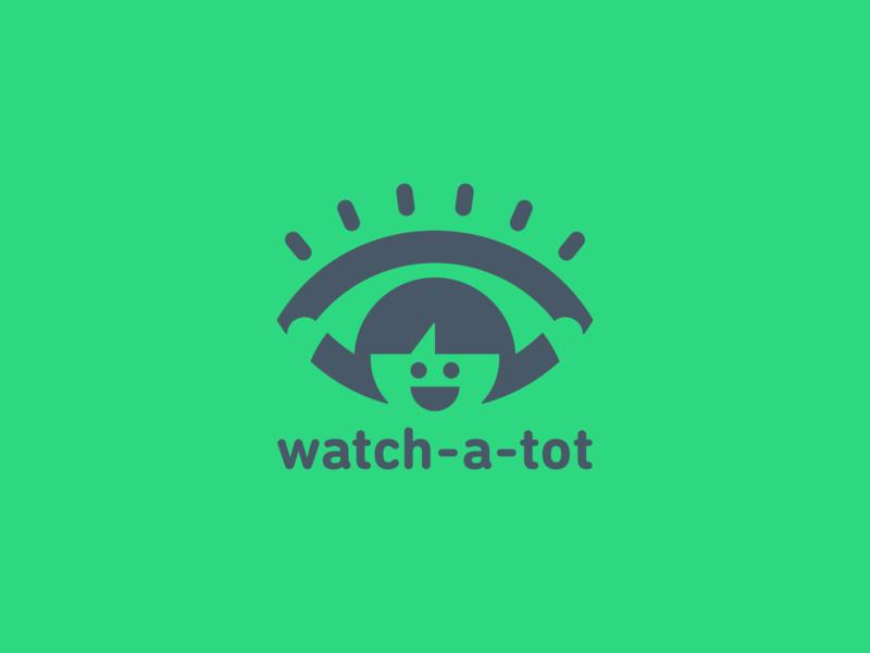 Watch-A-Tot design app security happy kid vector brand branding logo babysit nanny childcare watch tot child eye