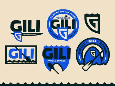 Gili Paddle Boards identity logo outdoor kayak paddleboard surf branding vector illustration patch badge