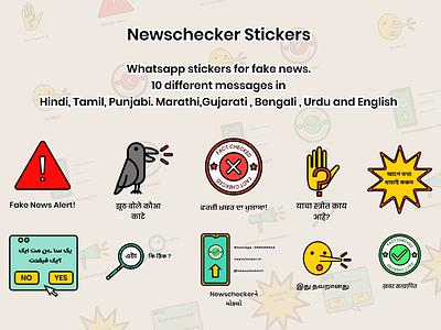 Fake News Whatsapp Stickers multilingual regional languages ux ui app illustrations branding illustration daily icon set icon stickers design vector flatdesign flat misinformation fake news
