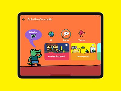 Golu App Screens app colourful creative storytelling kids book kids illustration brief kids app logo illustrations branding flat illustration daily vector design ux ui children kids