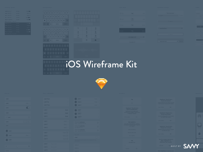 The Savvy Sketch iOS Wireframe Kit ios 10 ux freebie wireframe kit sketch ios