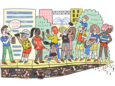 Tourists people editorial illustration illustration