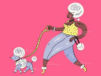 Posh Pup dog illustration fashion poodle dog people illustration
