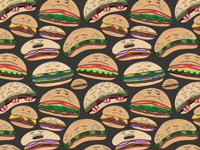 Well Done Burgers pattern design pattern burger burgers illustration