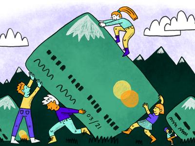 theSkimm: Managing Credit Card Debt debt editorial illustration art drawing illustration art illustration