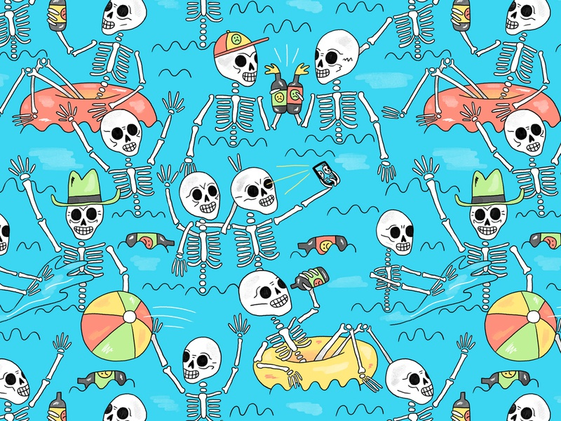 Pool Party 2020 summer pool party pool skeleton skull patterns design pattern illustration