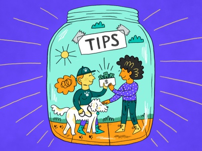 TheSkimm: Tipping photoshop editorial illustration people illustration