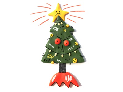 Scary Tree sculpture sculpy christmas tree christmas illustration