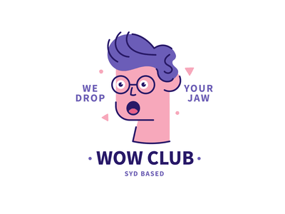 WOW CLUB surprise shock reboun sydney logo badge illustration outline male character character design character