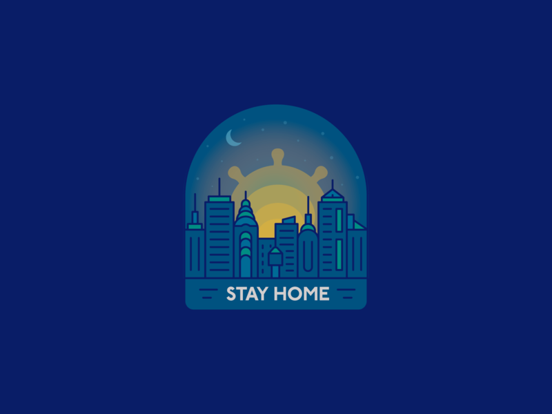 #StayHome badge 2d outline illustration pandemic corona virus corona covid-19 stay home