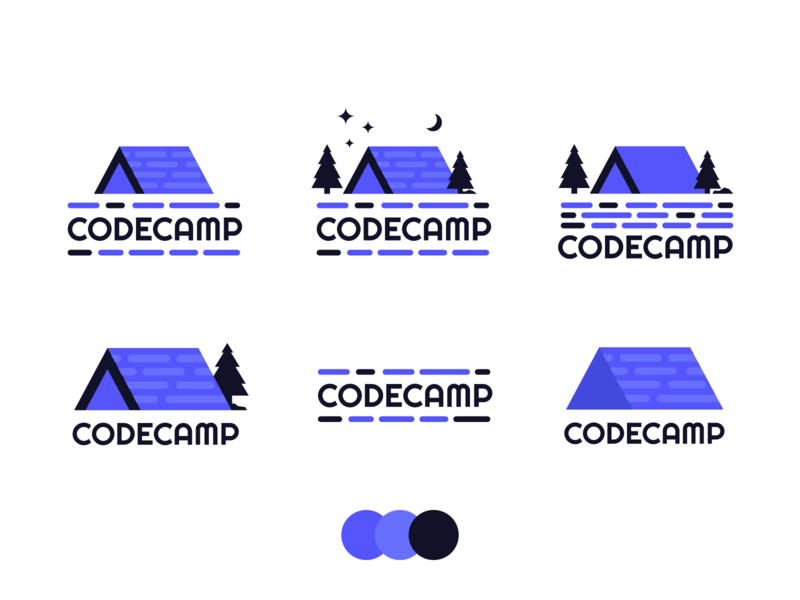 Codecamp back end front end code logo camping logo tent camping developing code coding developer icon illustration badge branding logo