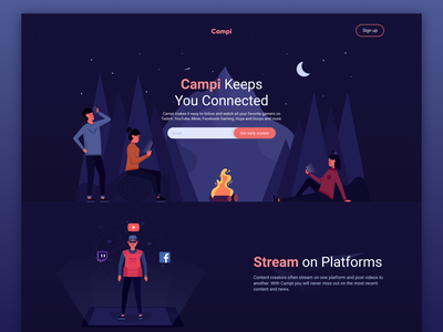 Campi - Stay Connected campfire character design character illustration icon moon sky gaming website mountain nature camping in the nature fire streamer twitch gamers gamer illustration gamers gaming camping camp campi