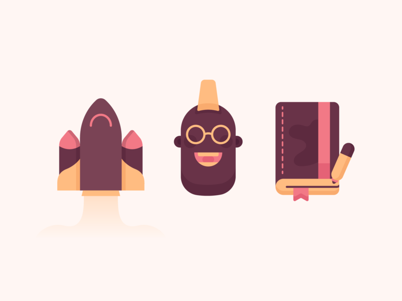 Kay Social Network Manager Illos 2d design book illustration course bookmark book 2d character character design character rocket illustration rocket design rocket flat design illustration