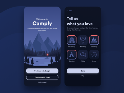 Camply - Plan Your Next Escape icon design trip app camping app ui design ux app design landscape lake jungle camp mountain fire tent woods outdoor activity fishing climbing kayaking hitchhiking camping