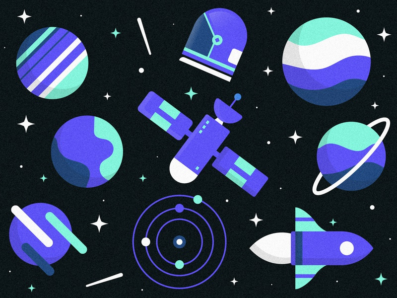 Space Wallpaper sydney illustrator graphic design 2d illustration sky spaceship solar system sattelite earth milky way universe mars space illustration space