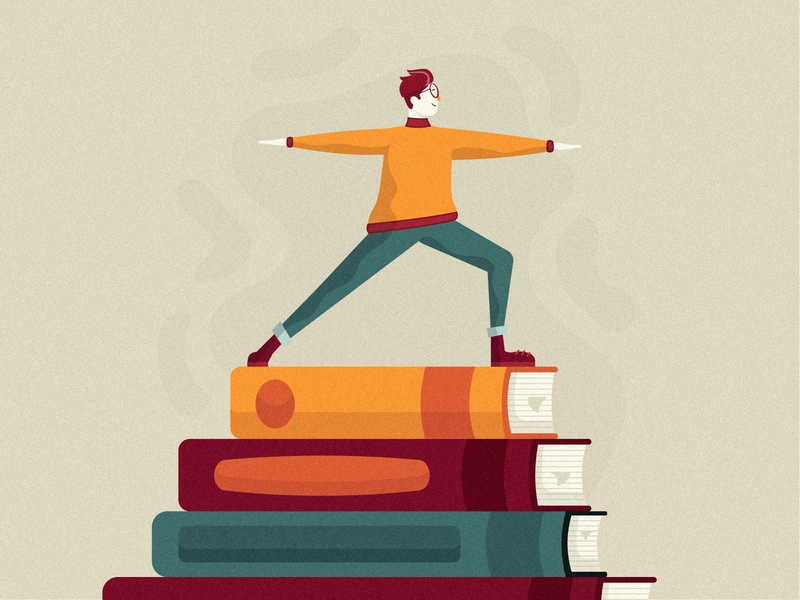 Book Lover illustration graduate research university research studying reading illustration reading lover library books book reading