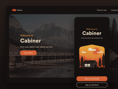 Cabiner woods sunset landscape illustration icon illustration ux ui airbnb property app cabin finder ux app app ui app design application design landing page design landing web design app cabiner