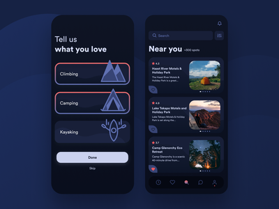 Camply - Plan Your Next Escape ui design ux design camp site camping site finder outdoor application outdoor life camping app camping site design campling illustration app illustration illustration climbing camping app ux app ui app design camply