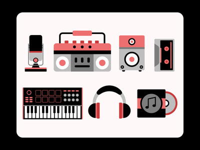 Producer Life music icons music illustration music album cd record headphone akai mpk keyboard midi midi keyboard sound monitor speaker monitor cassette player cassette tape speaker microphone mic
