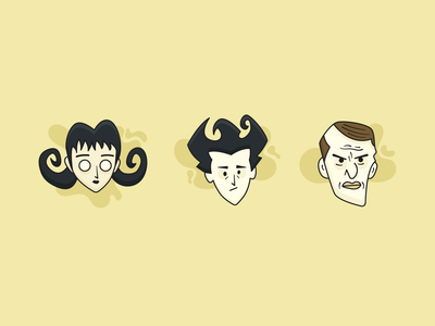 Don't Starve Together Characters - 1 illustration illustration design online game character klei games game character design character design maxwell willow wilson
