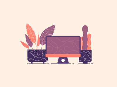 Work From Home View working from home covid-19 pandemic desk view desktop plant design illustrator plant icon leaf leaves plant design plant illustration plant desk work from home