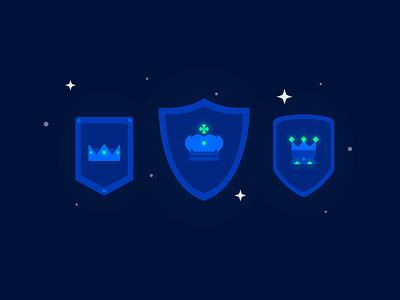 Royal Shields royal shield tiara king crown flat 2d illustration dark mode illustration illustration icon sword and shield medieval age weapon battle war sword shield