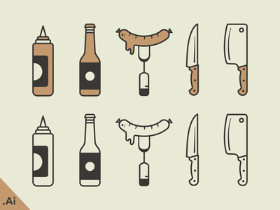 BBQ Illustration - Free Download knife cooking grill ketchup sauce sausage picnic bbq