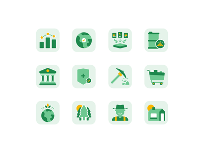 Croply Pitch Deck Icons land consumer shopping insurance government bank commodity mining farmer farming environment pitch deck spot illustration agriculture icon