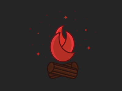 Fire outline icon dark camp camping fire place log fire