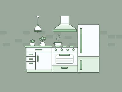 Greeny Kitchen vector 2d oven fridge outline illustration kitchen