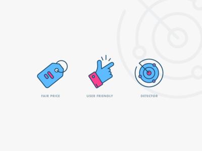 IT Service Icon illustrator outline icon detection detector radar user friendly price tag price