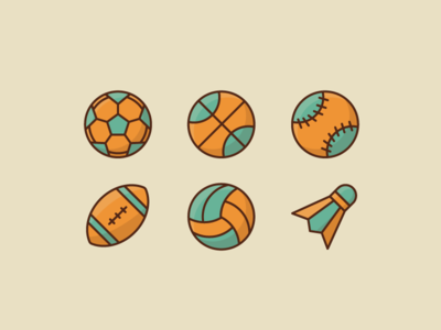 Sport Ball Icons illustration icon sport badminton volleyball soccer baseball basketball football
