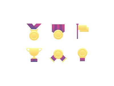 Achievement Icon minimal icon achievement winer winning win flag medal trophy