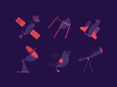 Random Space Illy rocket telescope space icon gravity earth spaceship space